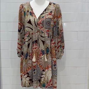 Umgee BoHo style feather print size medium dress